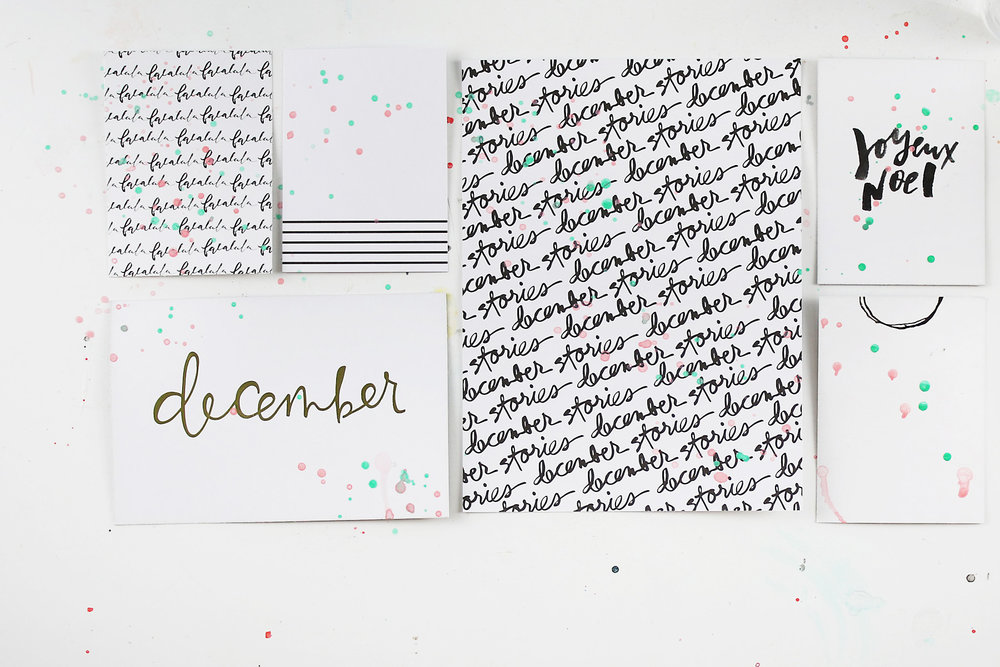 Larkindesign {December Daily 2016} Adding Mixed Media to the Journal and Filler cards