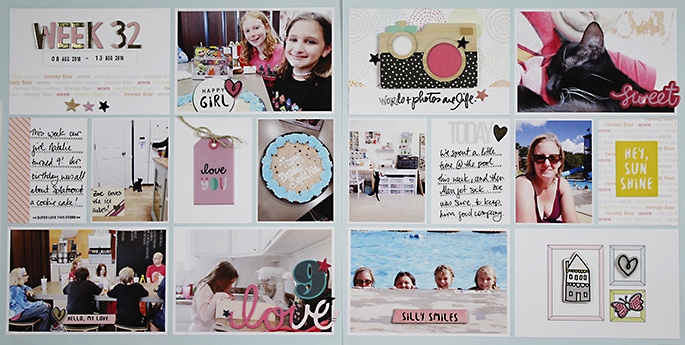 Project Life 2016 Week 32 | Crate Paper Cute Girl!!!!