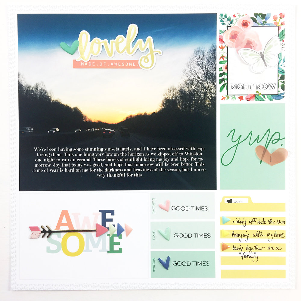 Larkindesign Project Life 2017 Week 05 Layout | Embellishing the Digi Layout Using AC Hazelwood