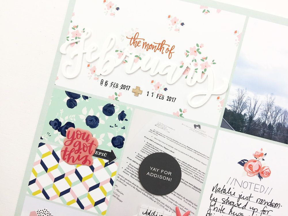 Larkindesign Project Life 2017 Week 06 | Embellishing the Layout Using Studio Calico Confidant Kit!!!!