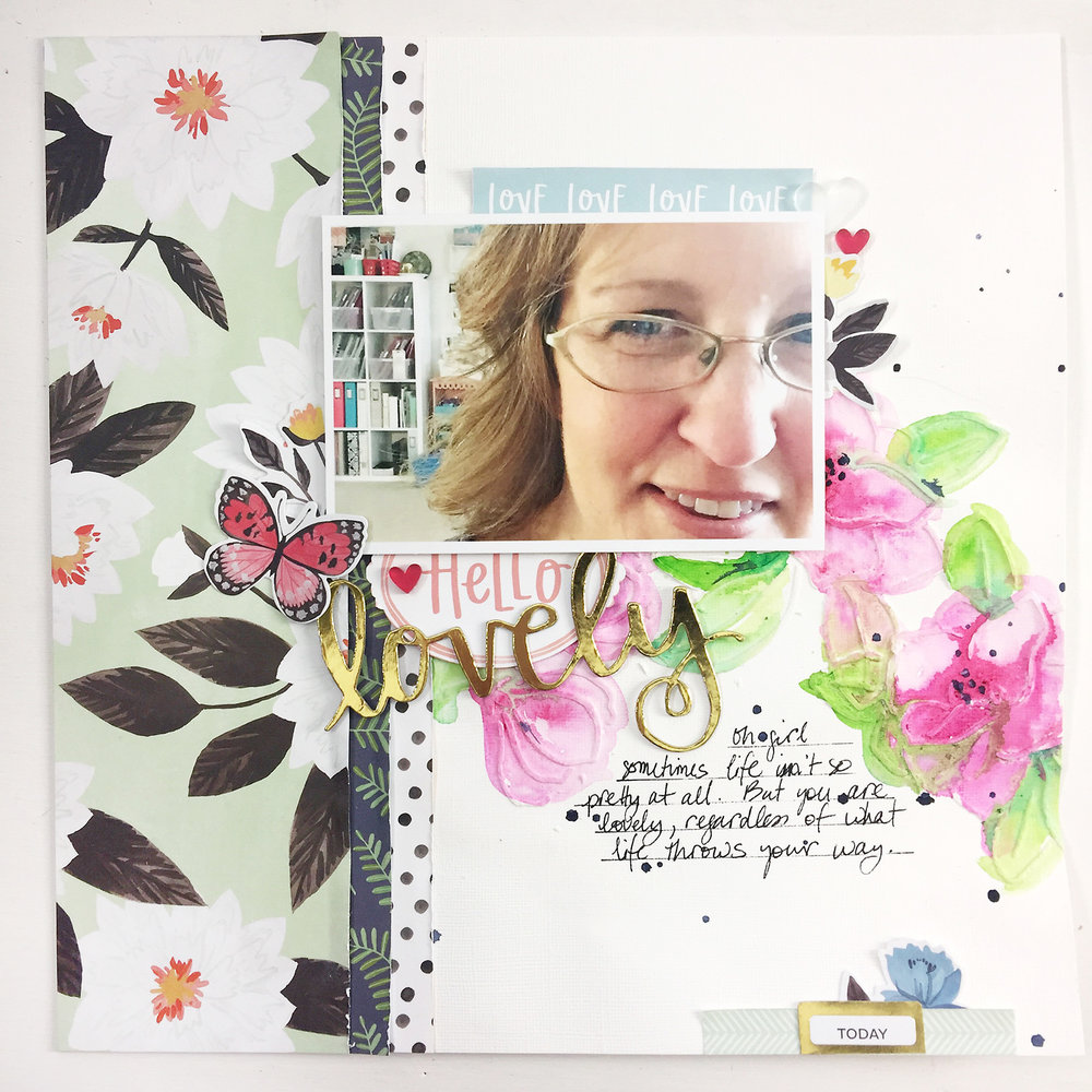 Larkindesign Traditional Mixed Media Layout | Hello Lovely ft. Hazelwood!Larkindesign Traditional Mixed Media Layout | Hello Lovely ft. Hazelwood!