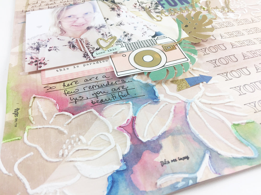 Larkindesign Traditional Scrapbook Layout | You Are Beautiful feat. Crate Paper Oasis %26 Jane DavenportLarkindesign Traditional Scrapbook Layout | You Are Beautiful feat. Crate Paper Oasis %26 Jane Davenport