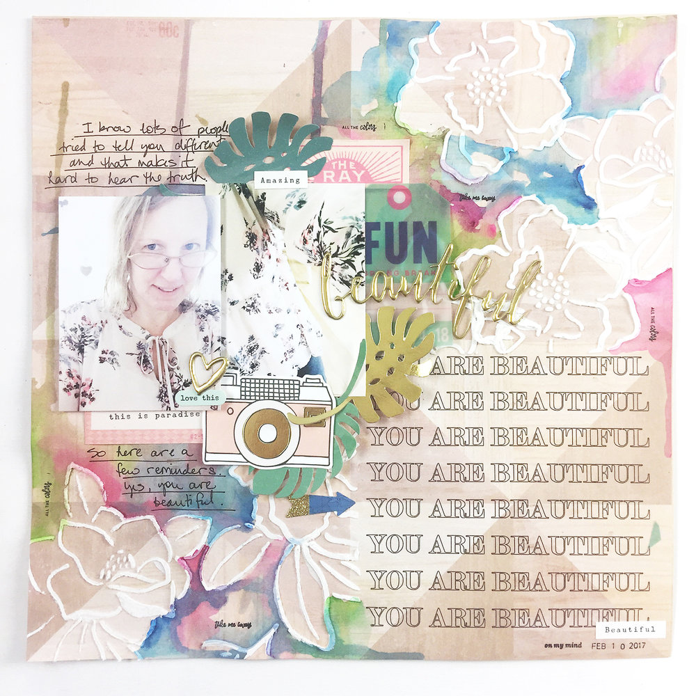 Traditional Scrapbook Layout | You Are Beautiful feat. Crate Paper Oasis & Jane Davenport