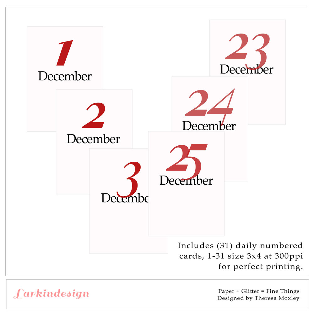Larkindecember Digital Mini Kit Daily Number Cards