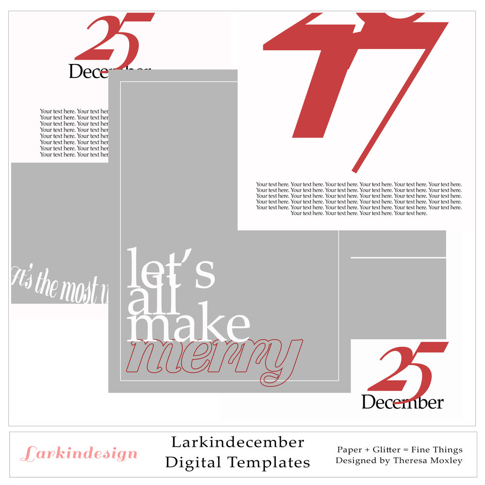Larkindecember Digital Mini Kit Photo Templates 6x8