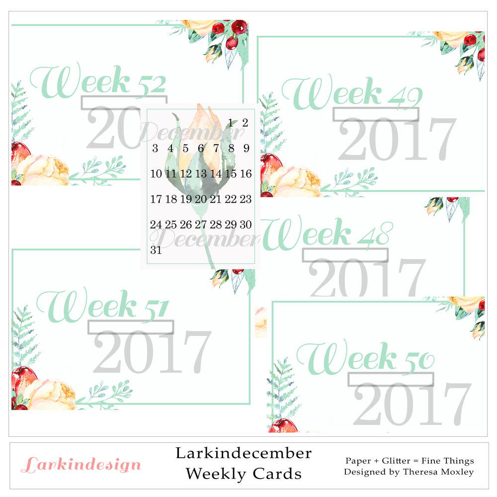 Larkindecember Digital Mini Kit Weekly Date Cards