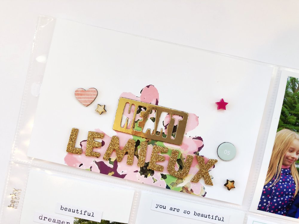 I love these Glitter Thickers from Dear Lizzy! I was so happy to see I had enough letters to spell out my last name. It really looks amazing on top of the floral design.