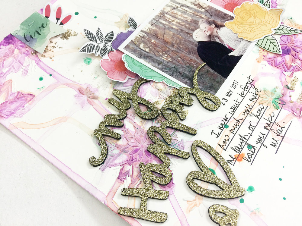 Larkindesign Mixed Media Scrapbook Layout | My Happy Heart ft. Vicki Boutin All The Good Things!!!!Larkindesign Mixed Media Scrapbook Layout | My Happy Heart ft. Vicki Boutin All The Good Things!!!!