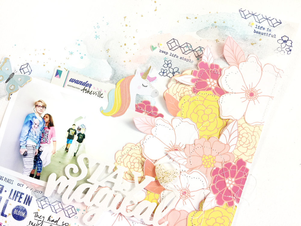 50 First Layouts | Stay Magical A Mixed Media Scrapbook Layout