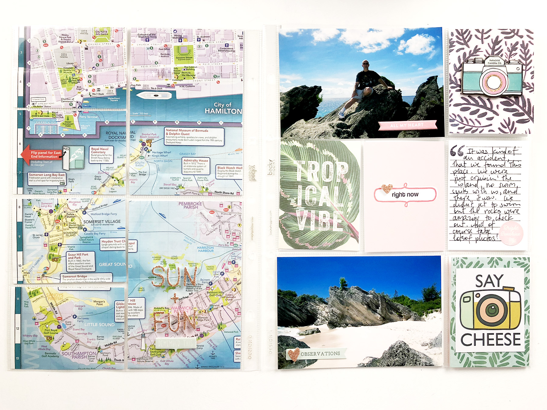 Bermuda Honeymoon Album | A Layout Using Maps!