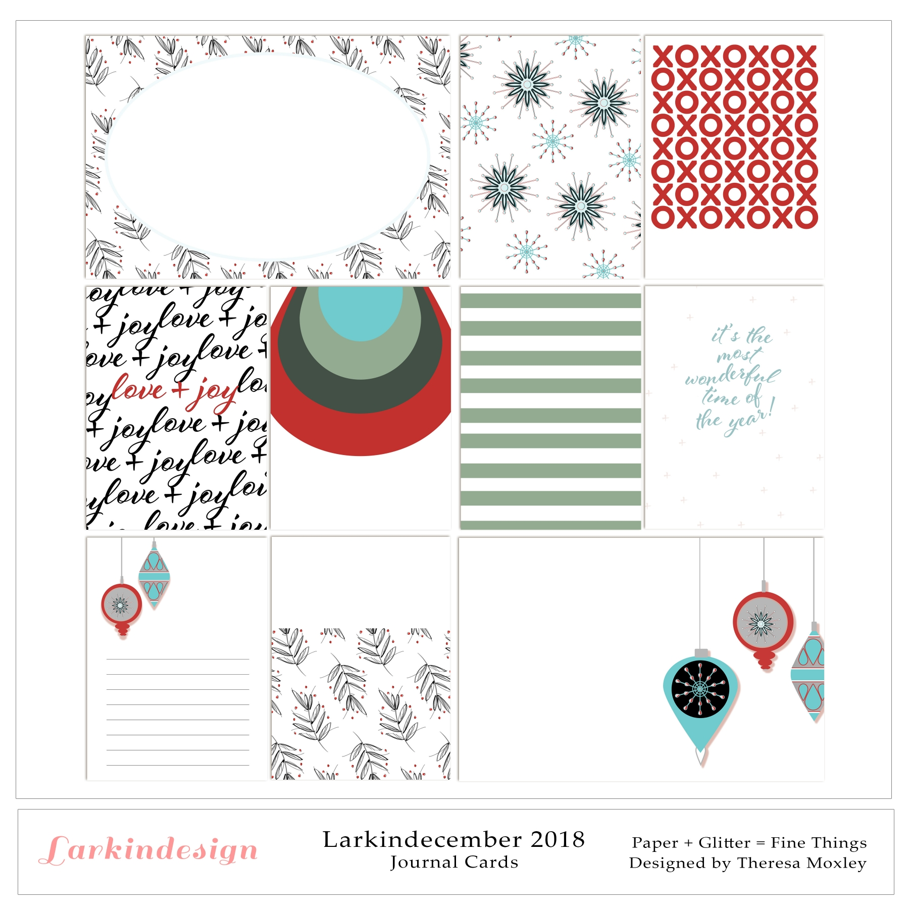 Larkindecember 2018 Journal Cards
