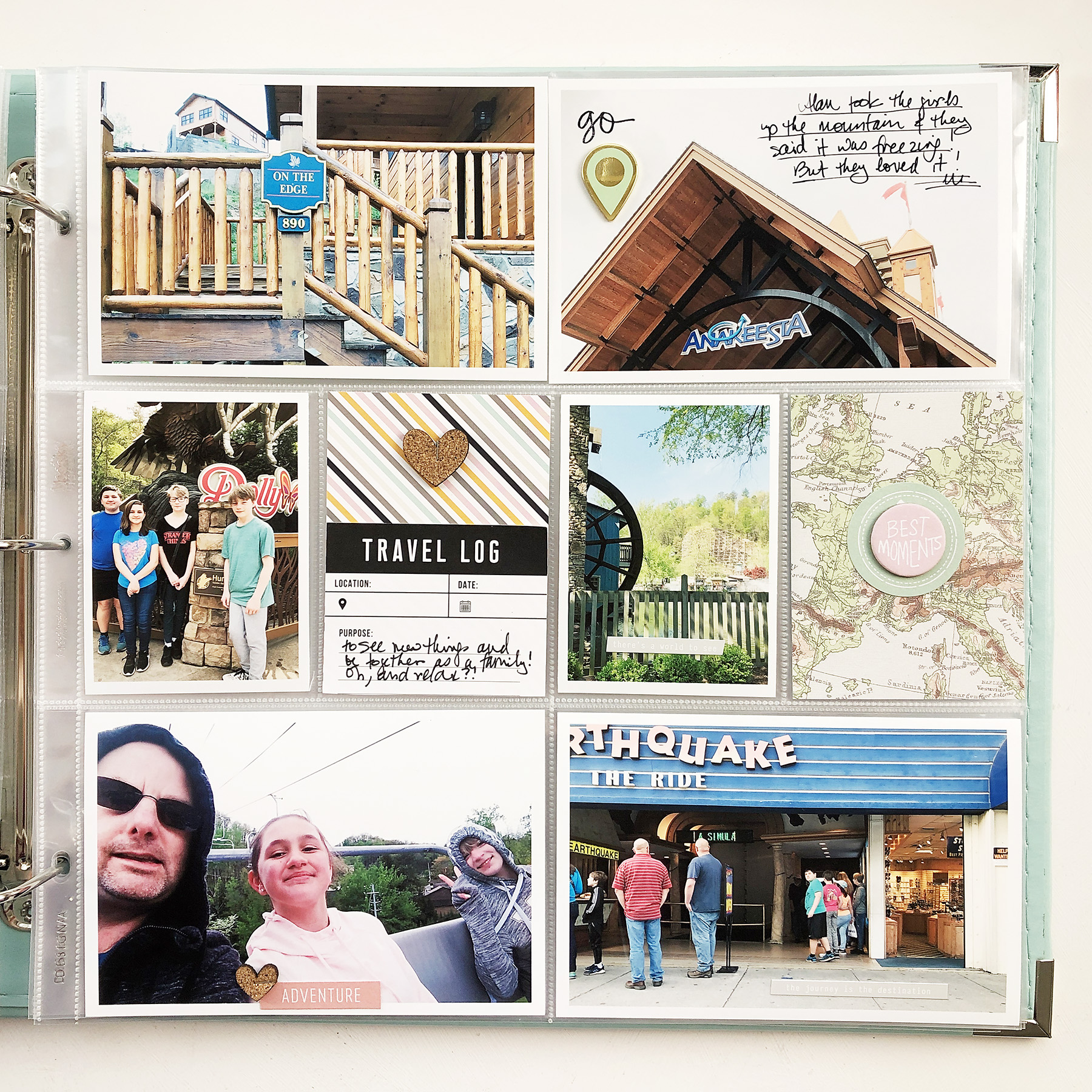 Larkindesign Documenting Travel in Project Life | Part 05 Gatlinburg Final Layout ft. Ali Edwards Travel Kit!!