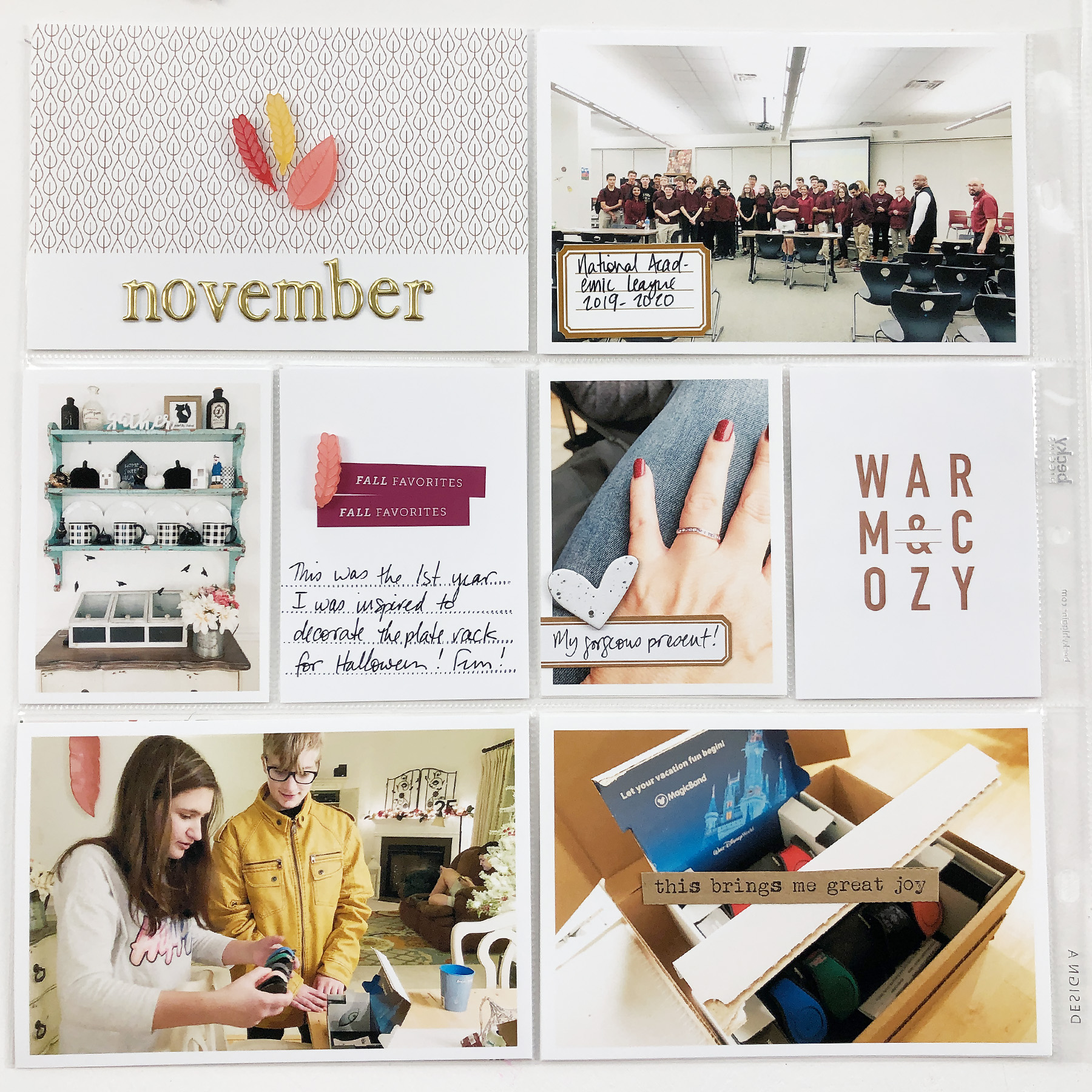 Larkindesign Project Life 2019 | November Monthly Layout ft Paislee Press Autumn Vibes