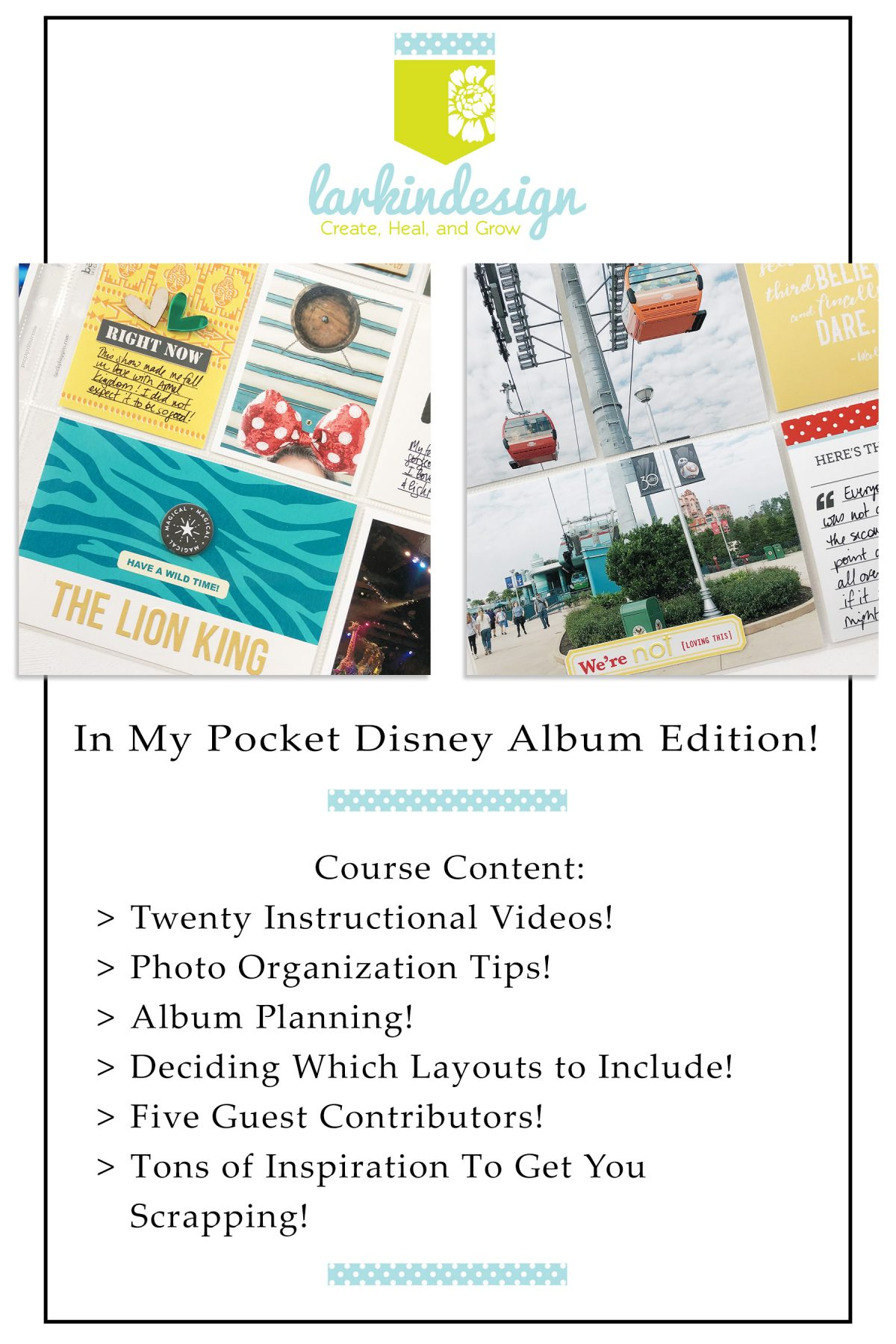 Larkindesign In My Pocket Memory Keeping Class Disney Inspired